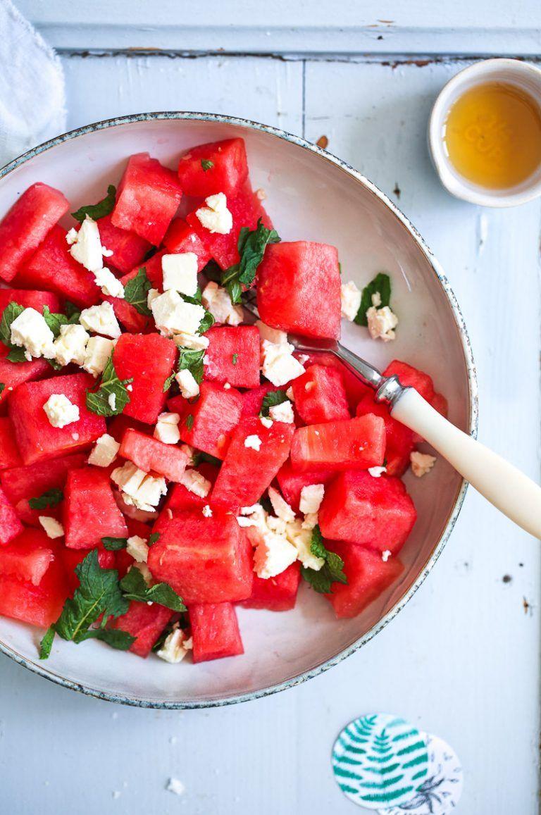 Wassermelone Minze Feta Salat Rezept