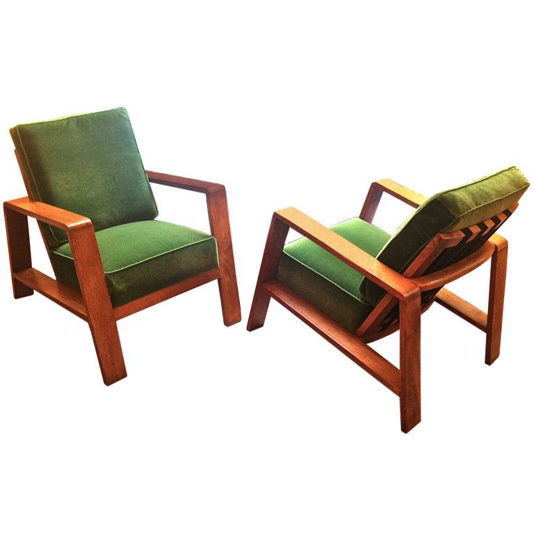 Jean Royere Rare Pair of Oak Lounge Chairs Recovered in Mohair | From a unique collection of antique and modern lounge chairs at http://www.1stdibs.com/furniture/seating/lounge-chairs/
