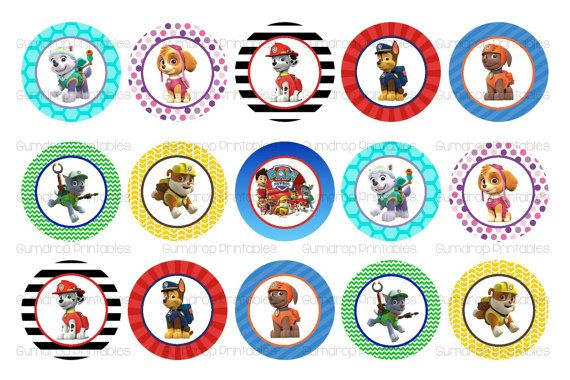 Paw Patrol Bottle Cap Images INSTANT by GumdropPrintables on Etsy