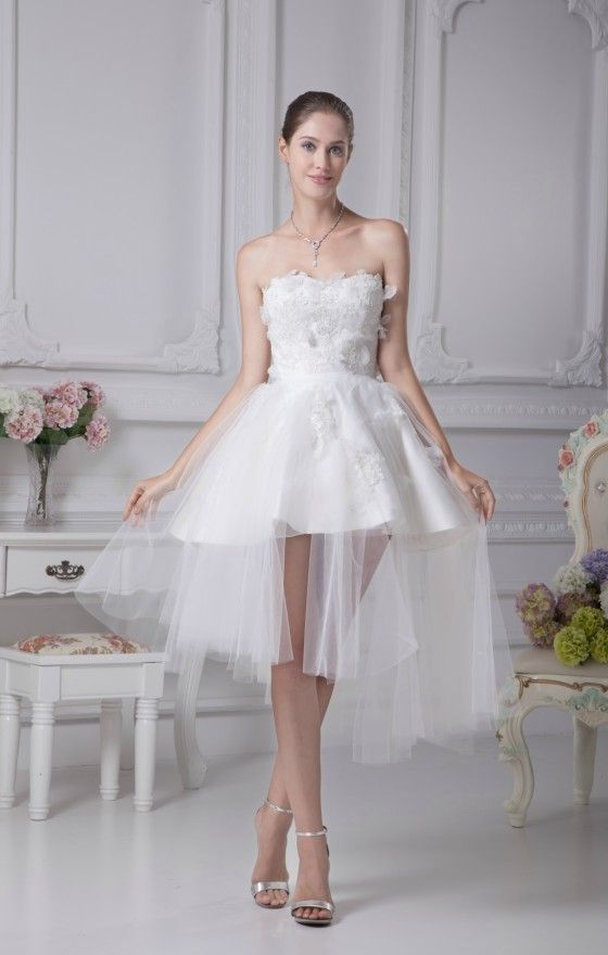 Special Beautiful Satin Tulle Lace Short Wedding Dress in Strapless