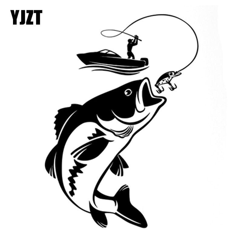 Yjzt 12 3 Cm X 17 1 Cm Interesante Pescador Pescando Pasatiempo Pegatinas De Pez Barco Coche Dibujo Pescado Tatuajes De Pesca Pescador Dibujo