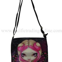 "Pink Lightning Shoulder Bag Polyester fiber. Dimensions: 9"" x 9.5"". Adjustable strap drop. Zipper pockets on interior and exterior. Cell phone pouch. Designed by Jasmine Becket Griffith."