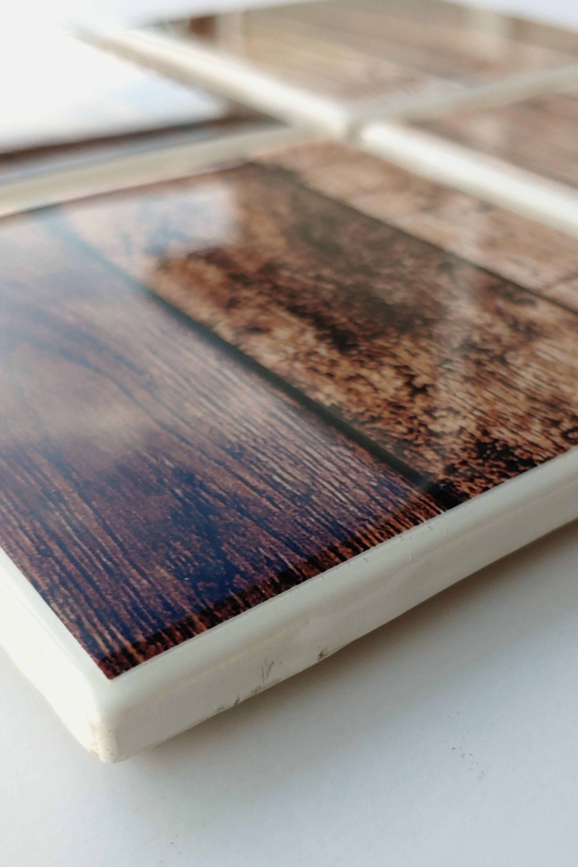 Epoxycoated Ceramic Tile Coasters Rustic Coasters