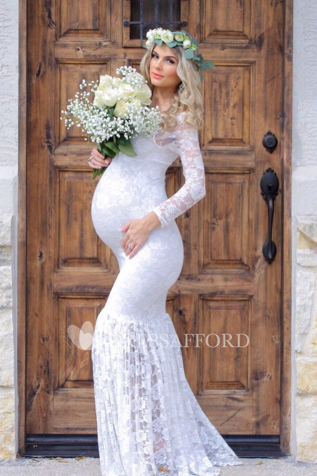 Mermaid Scoop Pleated Long Sleeve Floor Length Lace Maternity Wedding Dress Lace Maternity Wedding Dresses Wedding Dresses Pregnant Brides Pregnant Wedding Dress