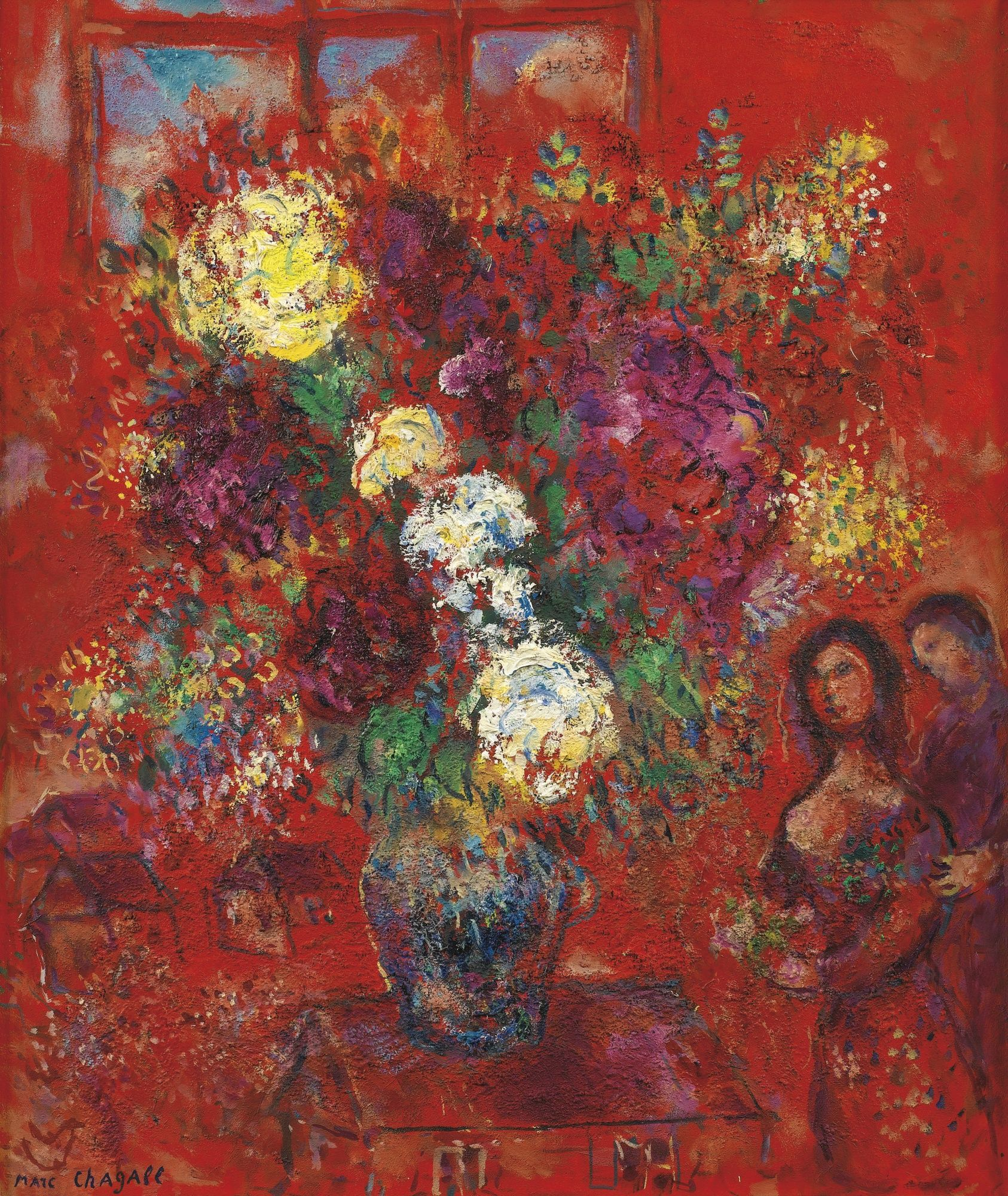 """LE BOUQUET AU FOND ROUGE,"" 1965, Marc Chagall. Oil on canvas; 55 by 46.5cm. 22⅝ by 18¼ in. Sotheby's 2015 sale ₤1,205,000."