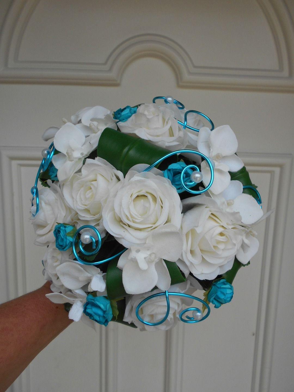 Bouquet De Mariee Aiko Blanc Et Turquoise Fleurs Artificielles