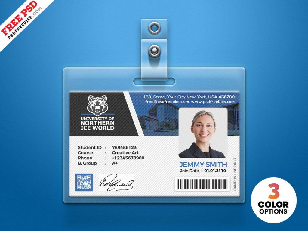 University Student Identity Card Psd Psdfreebies Com Id Card Template Employee Id Card Identity Card Design