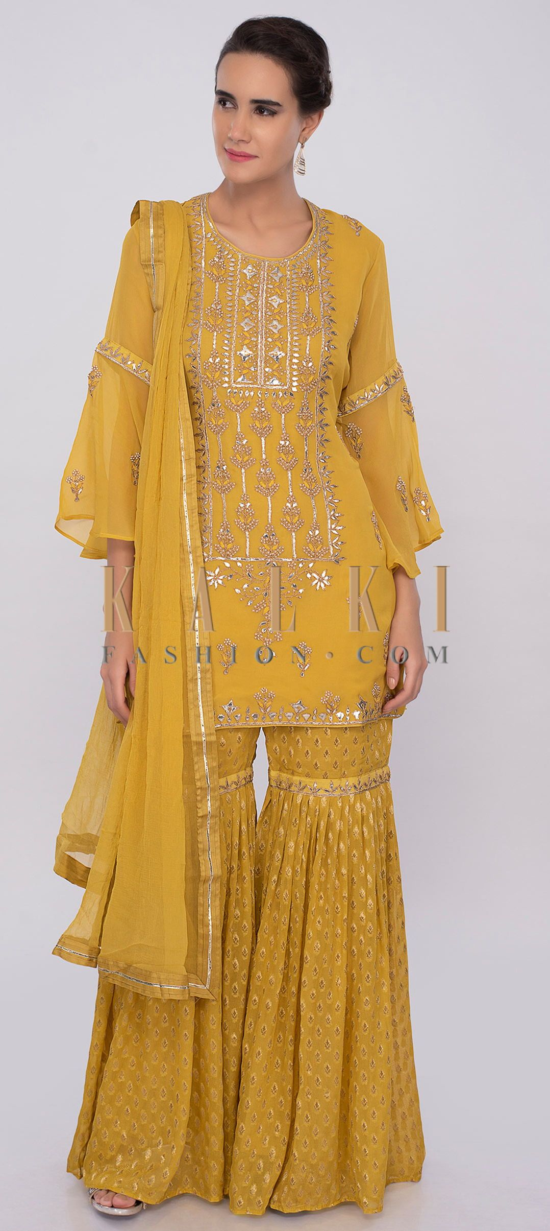 fffca6b3be We ship worldwide (Free Shipping over US$100) Click Anywhere to Tag Royal  yellow georgette sharara suit set with embroidery only on kalki Royal  yellow ...