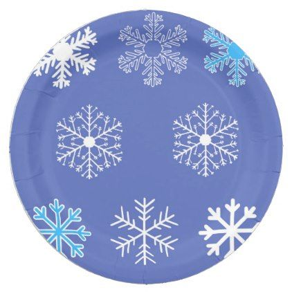 Evening Snowflakes Paper Plate - fall decor diy customize special cyo  sc 1 st  Pinterest & Evening Snowflakes Paper Plate - fall decor diy customize special ...