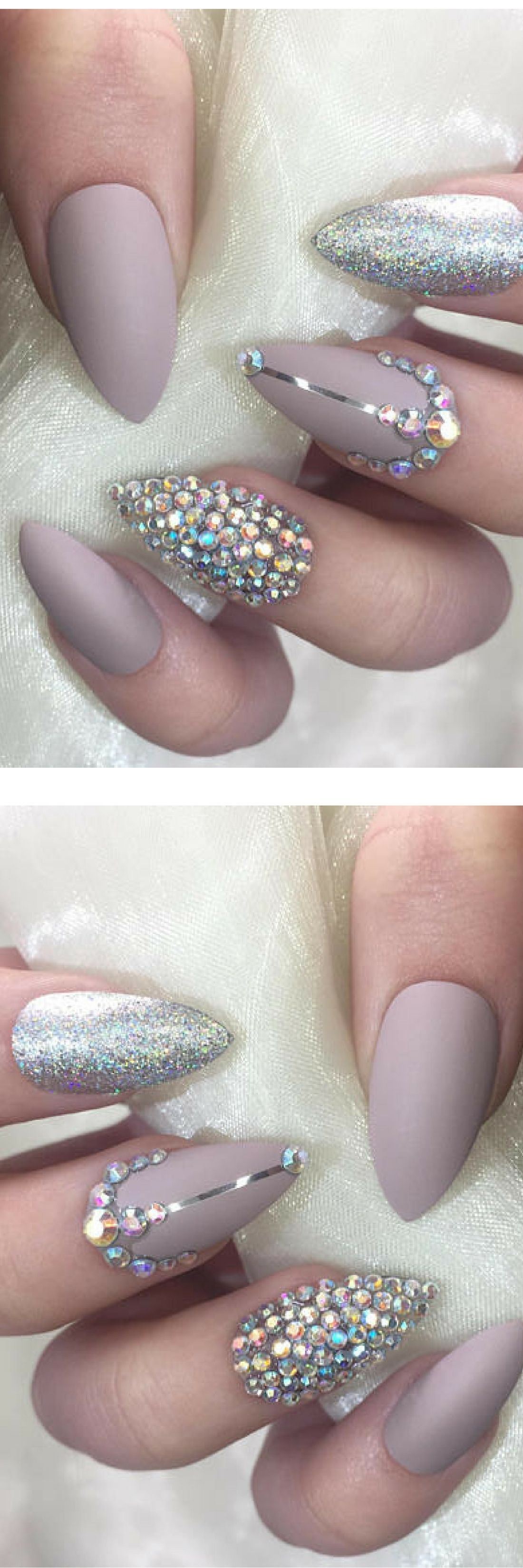 Matte nude and silver holographic stiletto false nails with ...