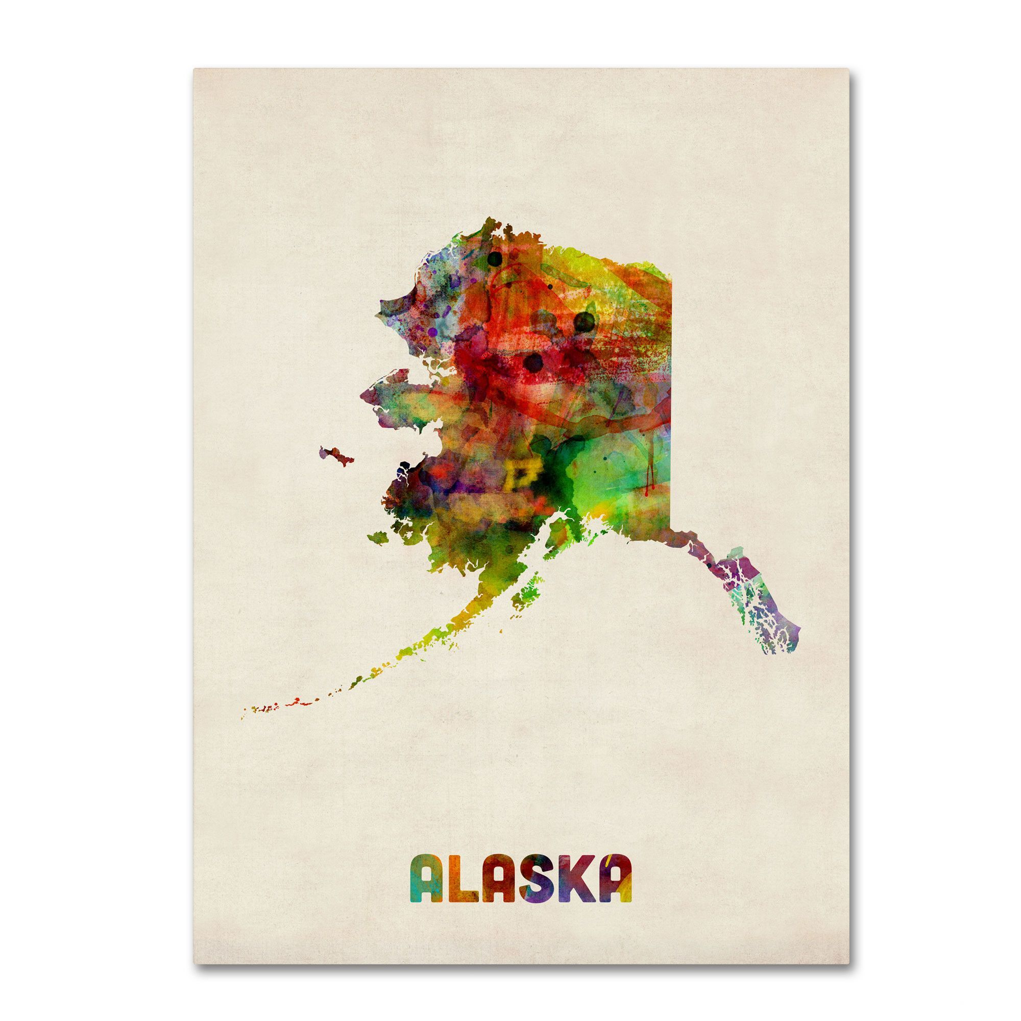 'Alaska Map' by Michael Tompsett Graphic Art on Wrapped Canvas