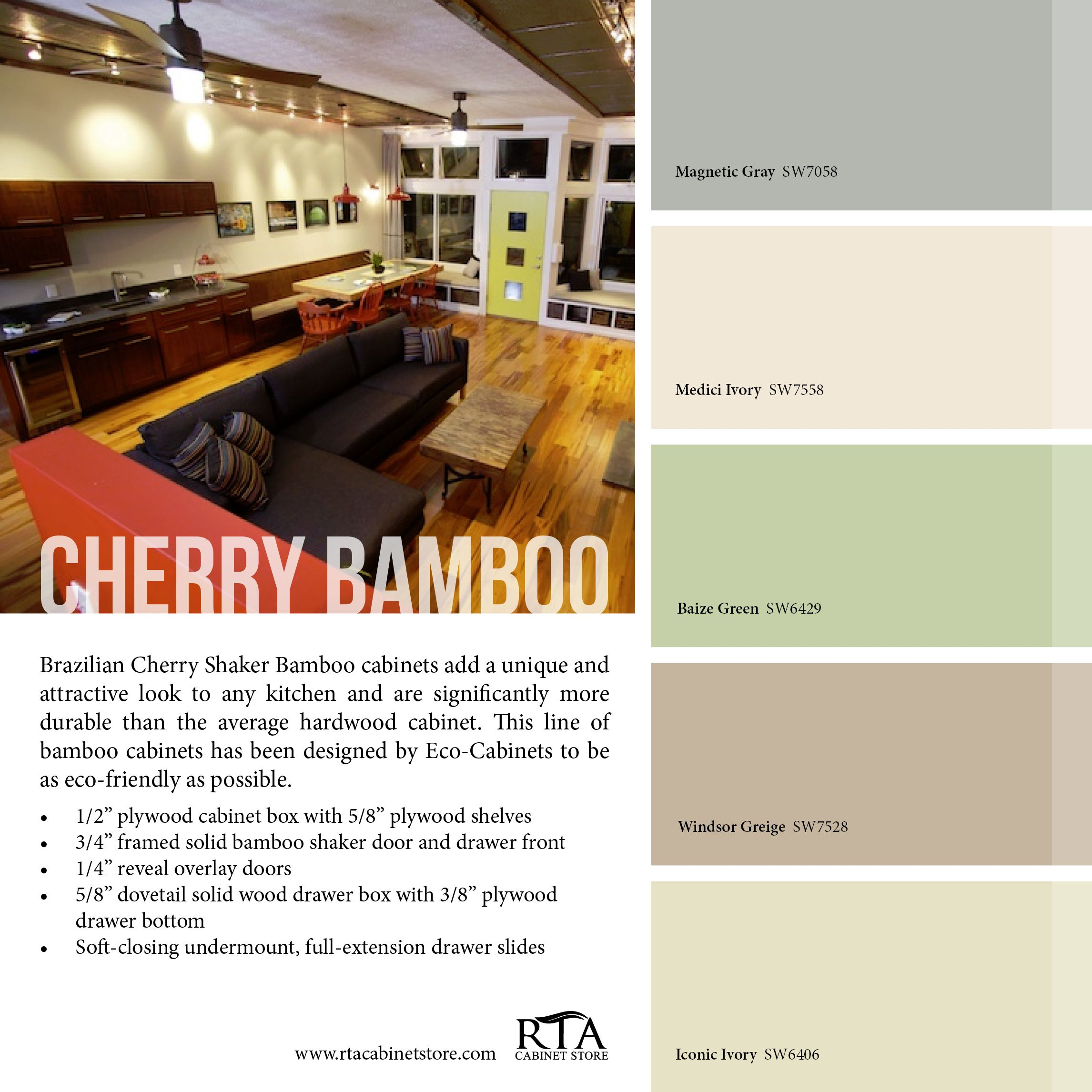 Color Palette To Go With Our Brazilian Cherry Bamboo Cabinet Line Kitchen Colors Kitchen Wall Colors Bamboo Cabinets