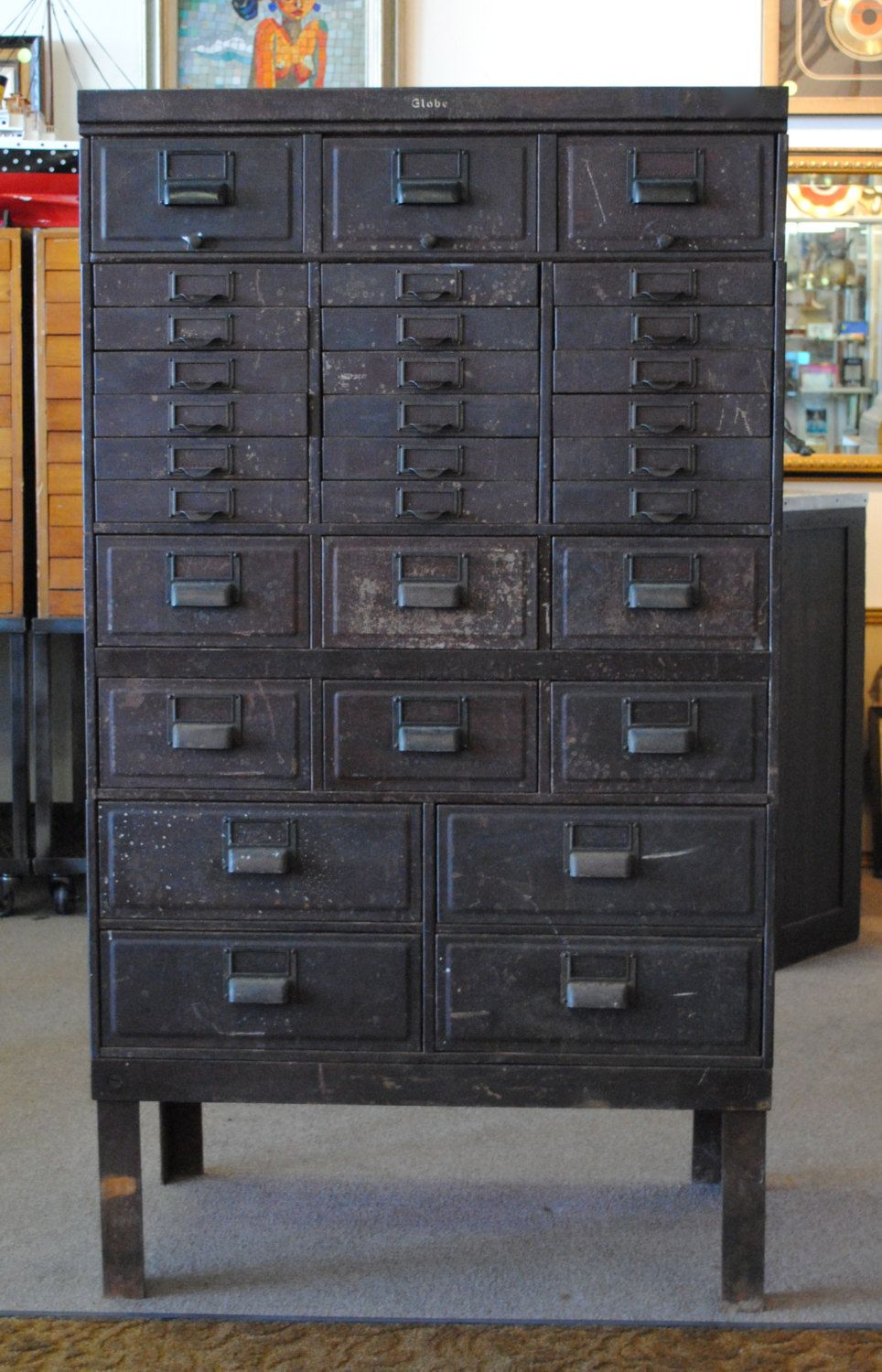 Metal Vintage Industrial Filing Drawers Retro Cool Rustic Shelving Upcycled