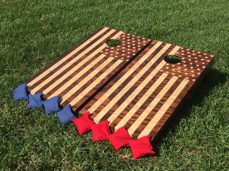 Hand-Made Corn Hole boards (2) **AMERICAN FLAG** Woodstain or any logo. Wedding + birthdays + anniversaries