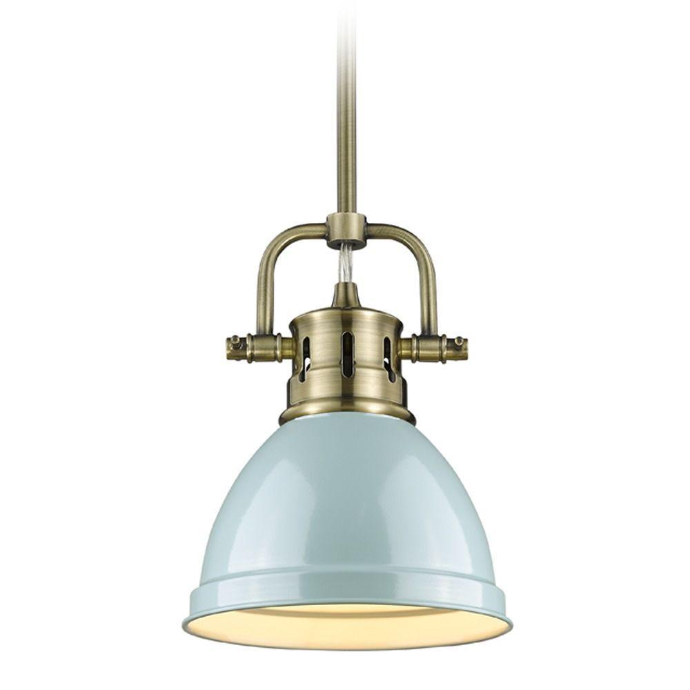 Golden lighting duncan ab aged brass minipendant light with bowl