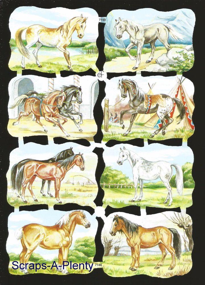 Majestic Horses EF7302 German Embossed Victorian Style Scrap Die Cut