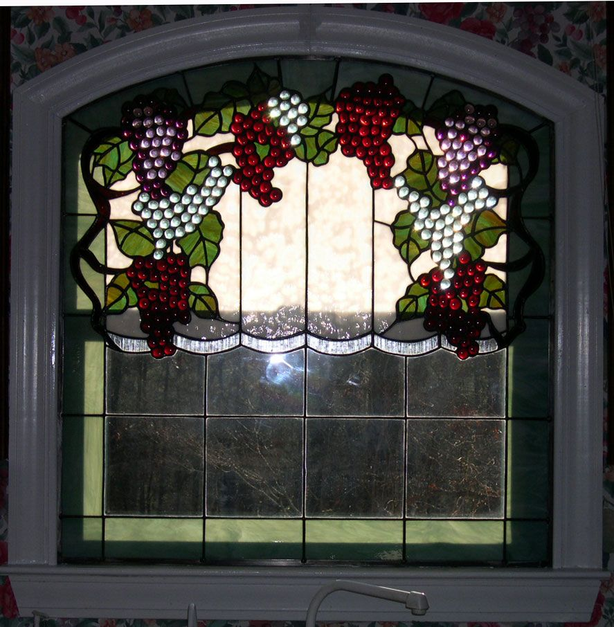 Grapevine Stained Glass Kitchen Window