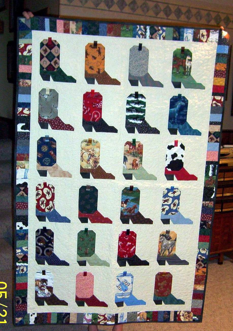Cowboy/girl quilt- do this but,in cute colors and patterns ... : cowboy boots quilt pattern - Adamdwight.com
