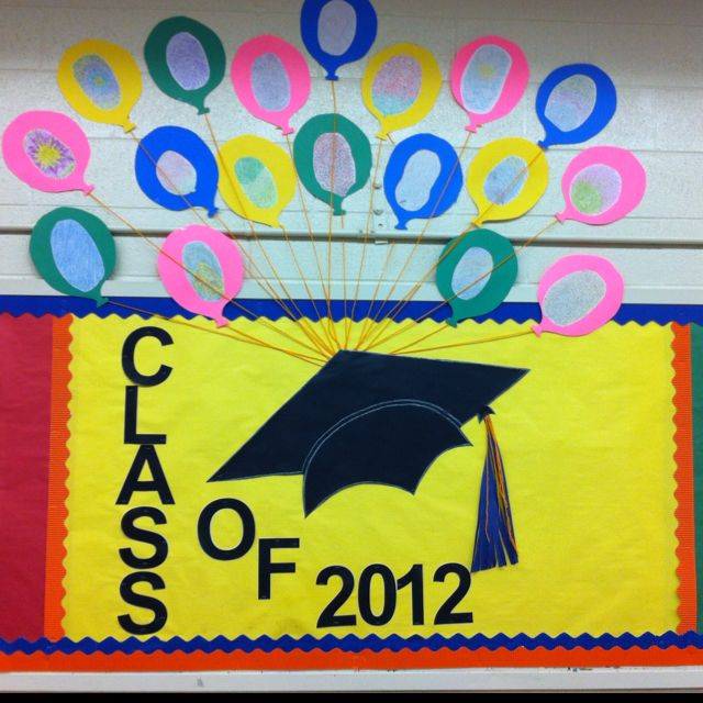 Bulletin board. Character development and personal identity. On each balloon is a blown up version of each seniors finger print and they wrote all about themselves along their finger print lines. This is a bulletin board that shows each senior individually carrying their graduation cap and life on to bigger and better places( metaphorically of course)!!!
