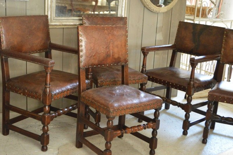 Great set of 5 antique leather dining chairs from French Loft available on  the Decorative Collective - Great Set Of 5 Antique Leather Dining Chairs From French Loft