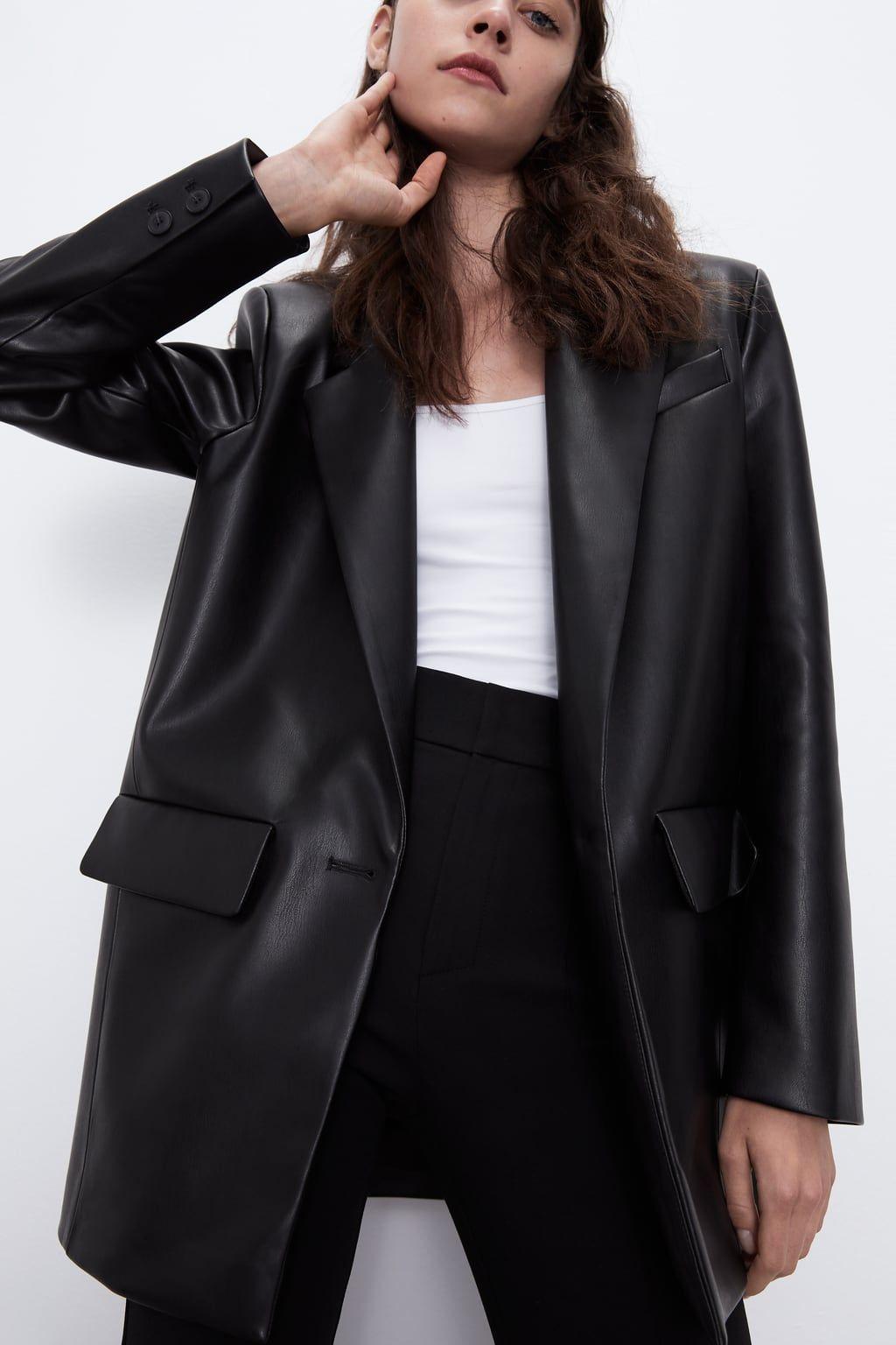 Marynarka Oversize Ze Sztucznej Skory Zara Polska Oversized Blazer Blazer Leather Blazer [ 1536 x 1024 Pixel ]