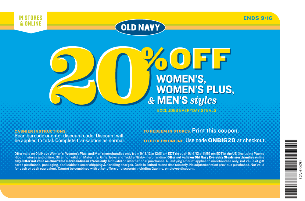 20 Off At Old Navy Or Online Via Checkout Promo Onbig20 Coupon Via The Coupons App Printable Coupons Clothing Coupons Coupons
