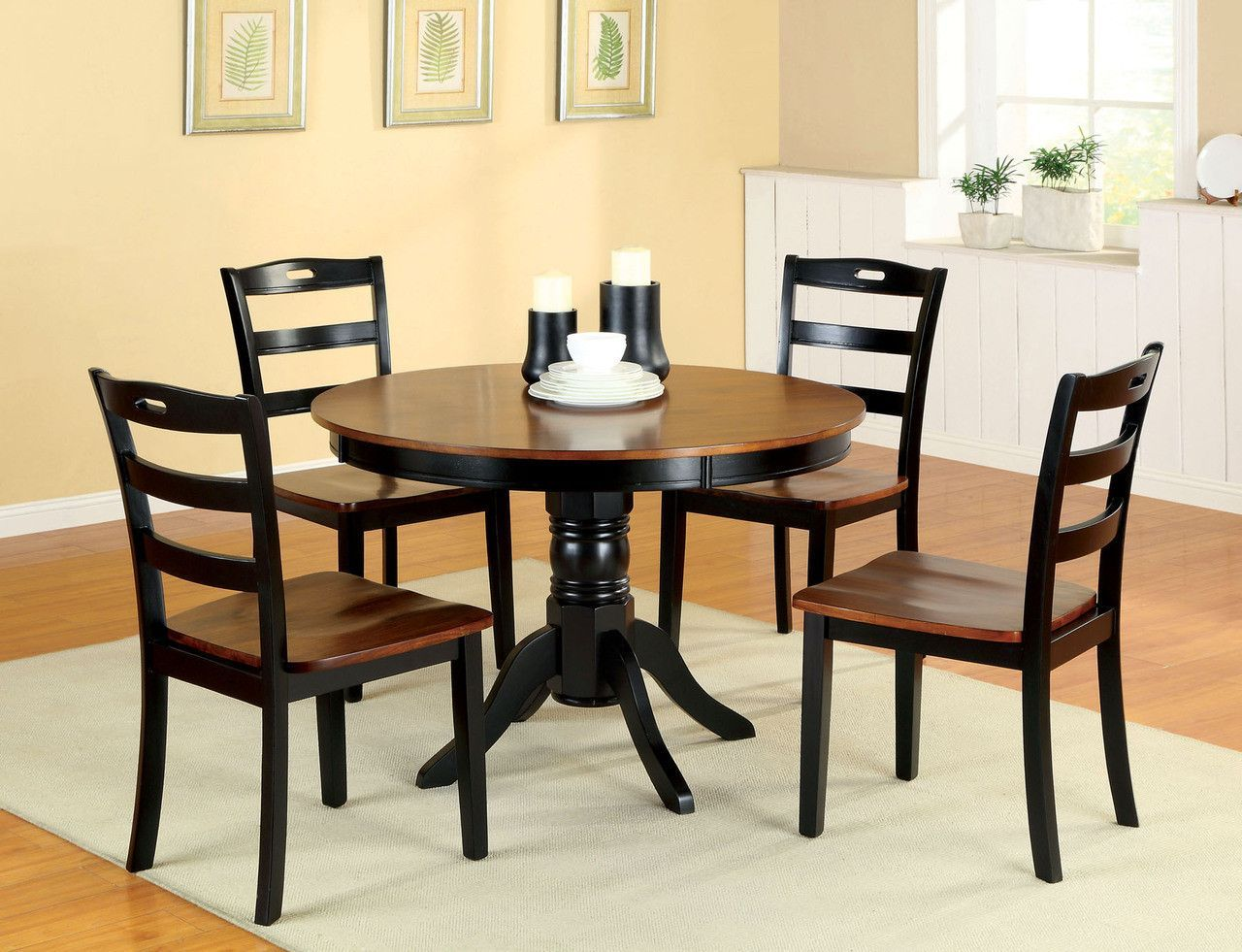 Johnstown dining table with 4 chairs cm3027rtcreate a warm for Traditional round dining table sets