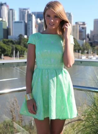de06707b24ca Green Print Cap Sleeve Dress with Fitted Top   Skater Skirt