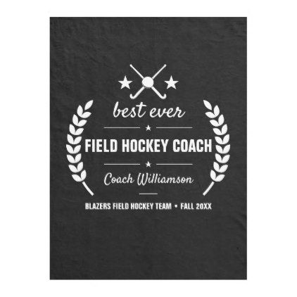 Field Hockey Coach Team Thank You Gift Custom Fleece Blanket Zazzle Com Hockey Coach Coach Team Field Hockey