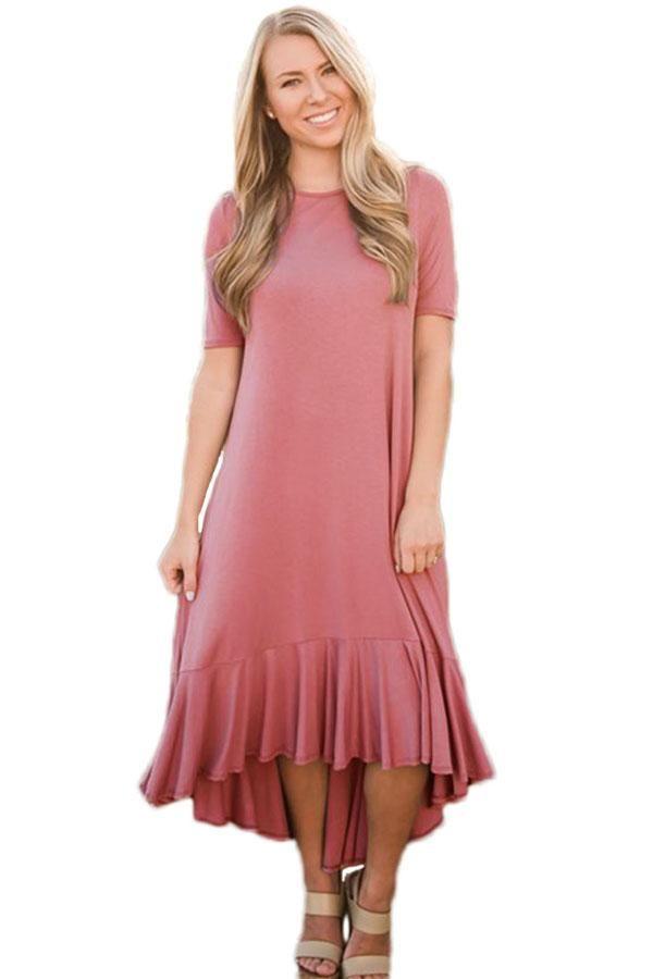 eeb8da8f6a5e Taro Flowy Ruffles High-Low Hemline Short Sleeve Casual Dress modeshe.com  #Red #casual #fashion #design #dresses #women
