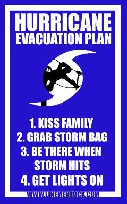 lineman hurricane evacuation plan electrical lineman
