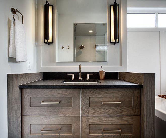 Bathroom Vanity Leathered Black granite countertop and ... on Bathroom Ideas With Black Granite Countertops  id=89250