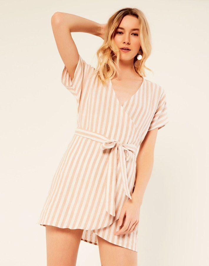 b87b30fecf8 Striped Linen Blend Wrap Dress   Glassons   Dresses, Fashion, Buy dress