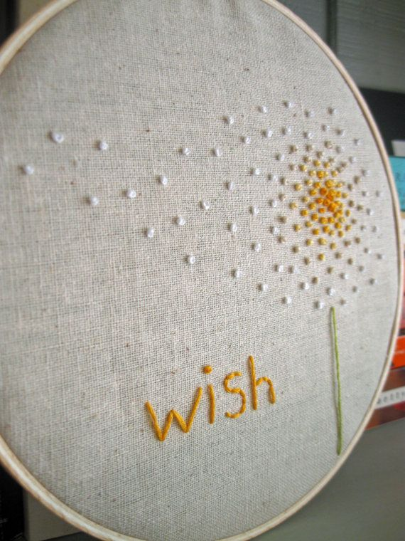 Embroidery Hoop Art Wish in Yellow by atticusandcole on Etsy ...