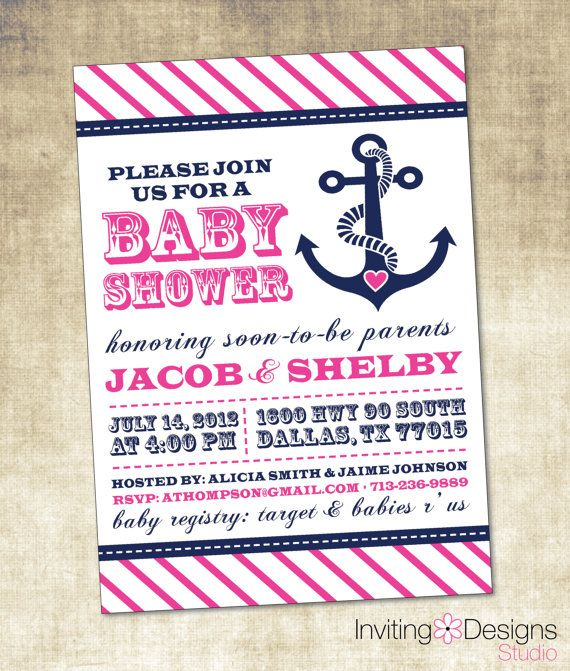 nautical baby shower invitation pink blue navy anchor girl customize