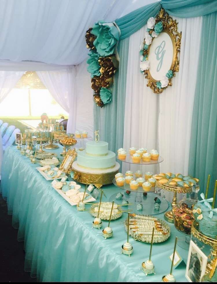 9ed19894180 What a stunning Tiffany   Gold themed Quinceañera dessert table!! Just  beautiful!! See more party ideas and share yours at CatchMyParty.com