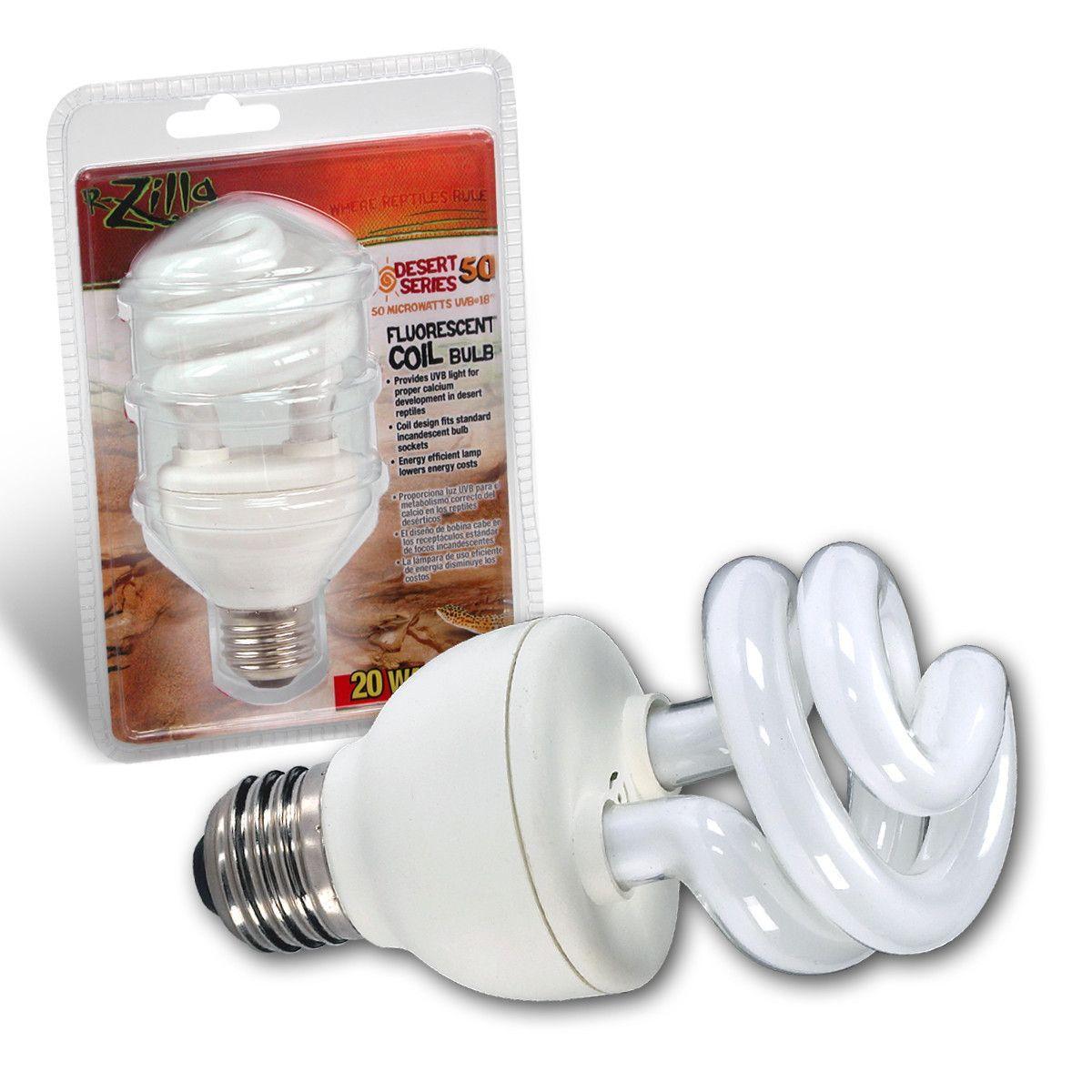 Zilla Desert 50 Uvb Fluorescent Coil Bulb 20w Bulb Uva Light