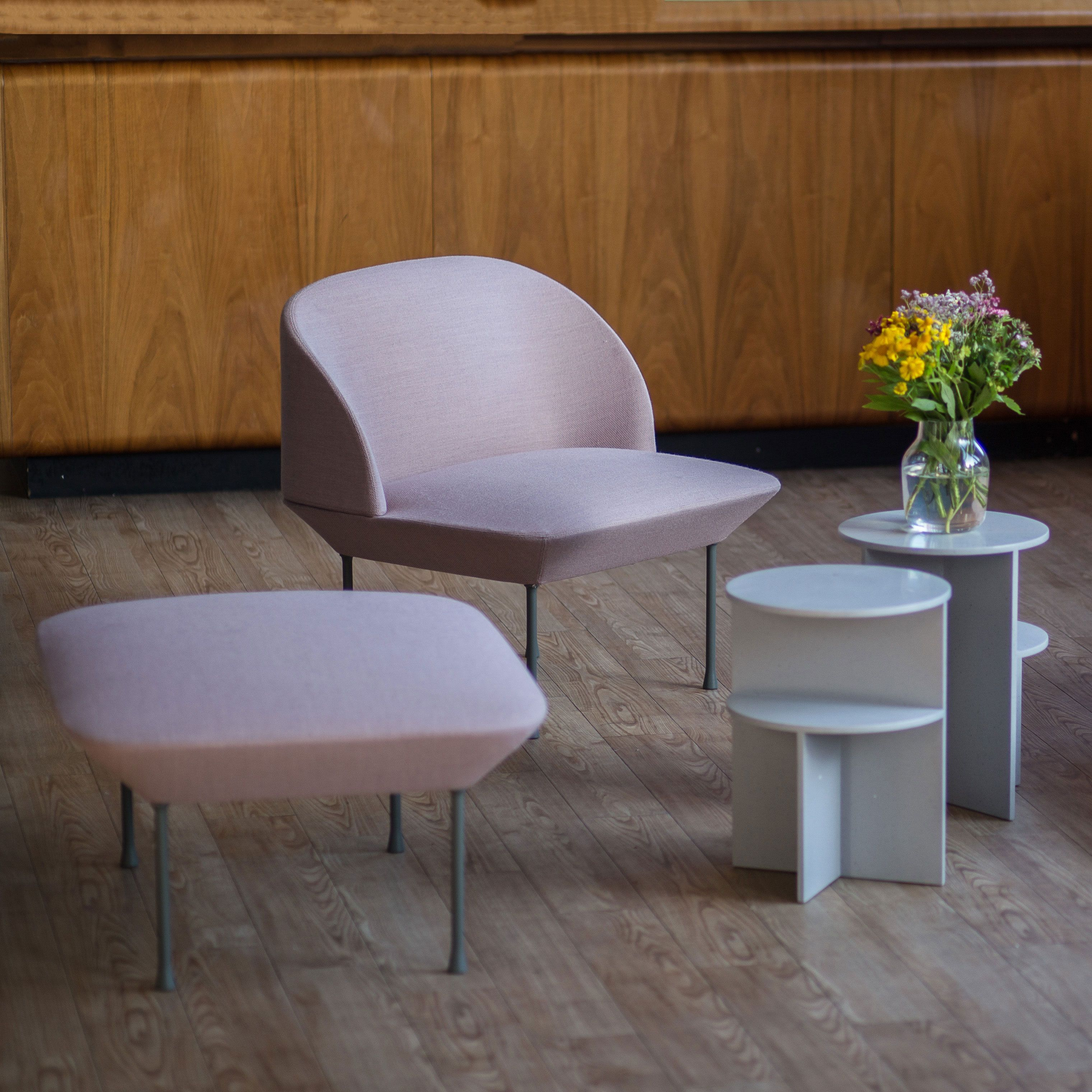 Lounge Chair Inspiration From Muuto The Oslo Sofa Family Unites Geometric Lines With A Light F Side Table Design Scandinavian Furniture Design Muuto Furniture