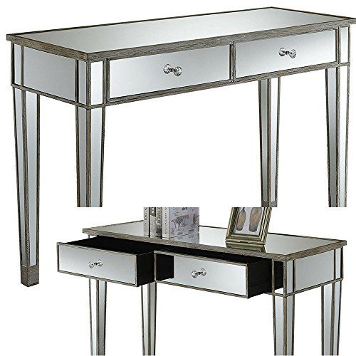 Enjoyable Mirrored Console Table With Drawers White Wood And Glass Pabps2019 Chair Design Images Pabps2019Com
