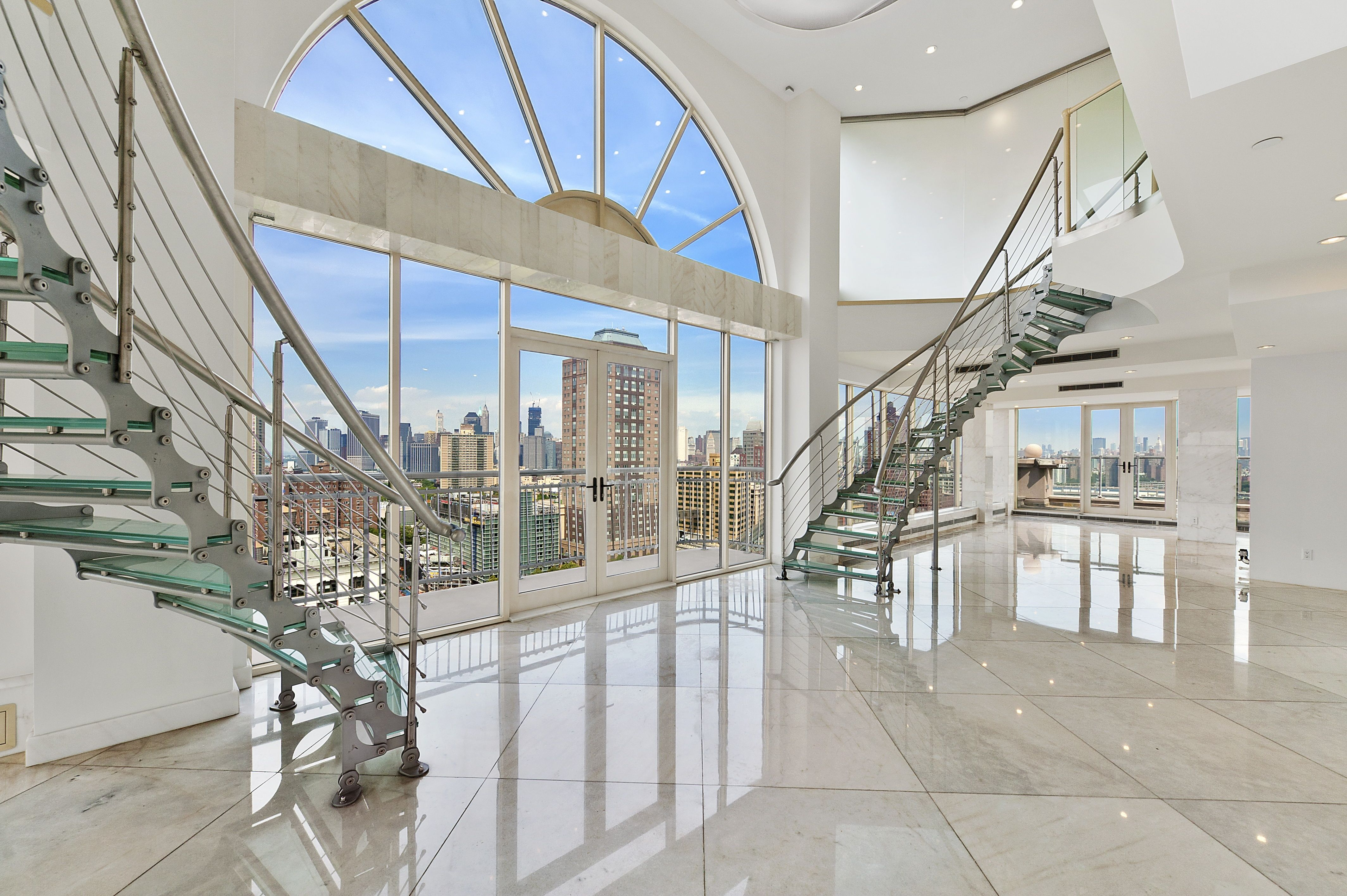 Downtown Brooklyn Glass Duplex Penthouse Stunner 5 BR For Sale Dumbo Apartment Sales 189 Bridge Street In NYC
