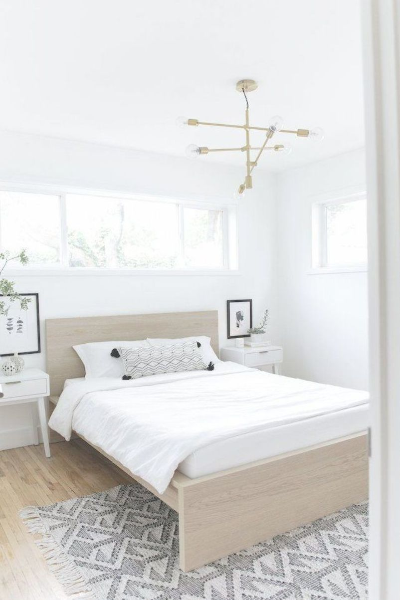 Scandinavian Bedroom with matching white mid-century ...