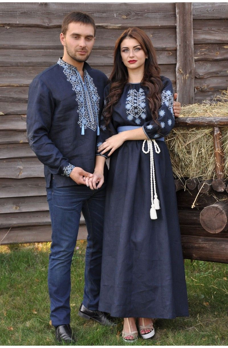 Комплект чорних вишиванок із льону із блакитною вишивкою для пари від  Валерія Масіка - Парні вишиванки - Вишиванки для пари efe7d3458b7a6