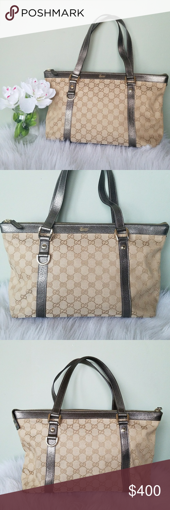 7ed1c64f376 Gucci Monogram Medium Abbey Tote Metallic Authentic Gucci. GUCCI Monogram  Medium Abbey Tote. Crafted