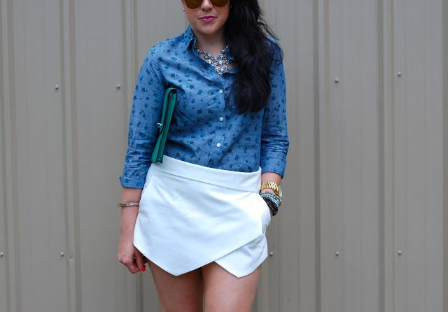 Old Navy floral blouse, Zara white skort, Coach Legacy clutch