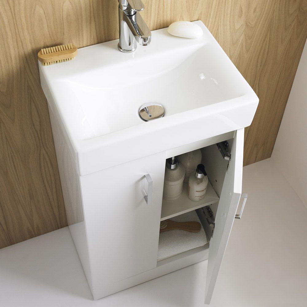 bathroom vanity units without basin. Nova High Gloss White Floor Standing Basin Unit W450 x D320mm  VTFW450 at Victorian Plumbing UK Cloak RoomBathroom VanitiesBathroom Vanity UnitsBathroom Sink With Cabinet 460mm Modern