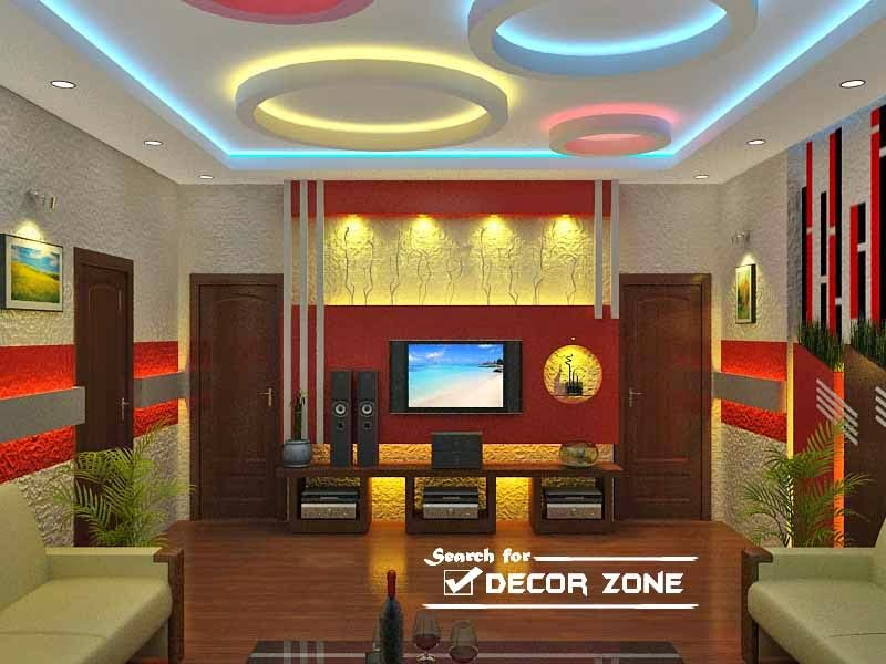 living room false ceiling designs with colorful POP circles. living room false ceiling designs with colorful POP circles