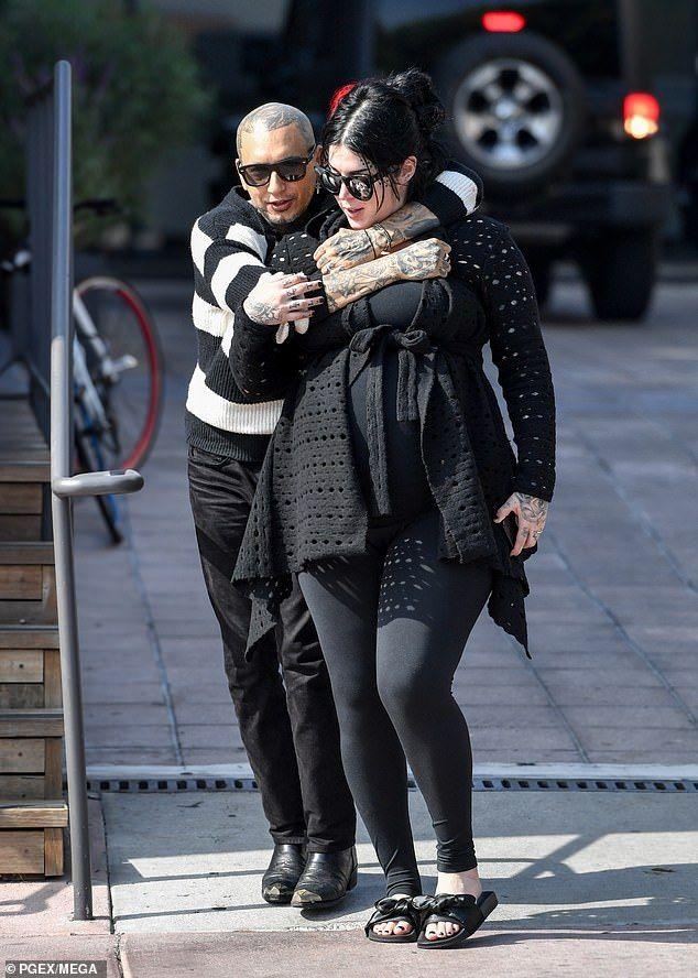 Pregnant Kat Von D is held close by husband Rafael Reyes ...