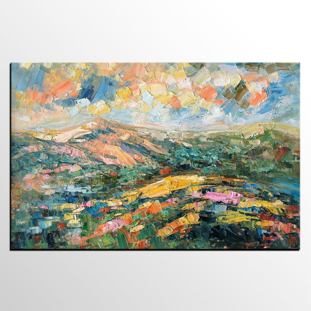 Landscape oil painting abstract autumn mountain painting