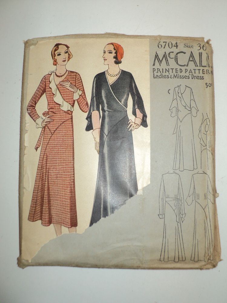 1931 McCall\'s Pattern # 6704 - Ladies & Misses Dress - Complete ...