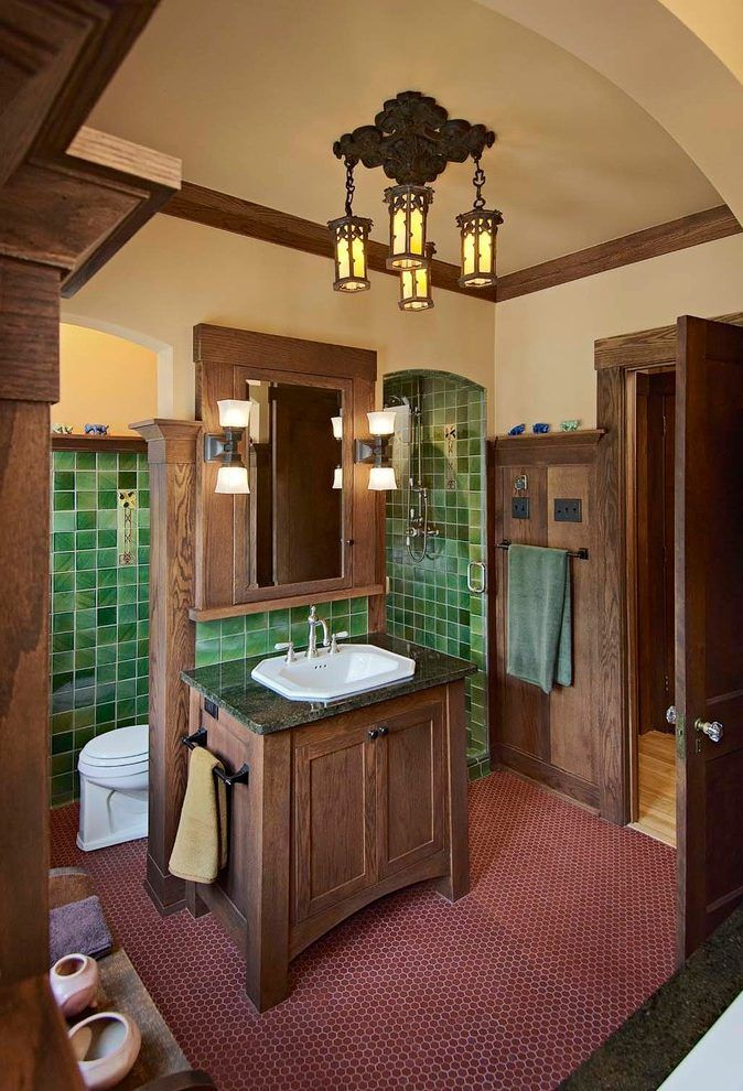 Minneapolis Craftsman Style Bathroom With Wainscoting Rubbed Bronze Towel Bars Arts And Crafts